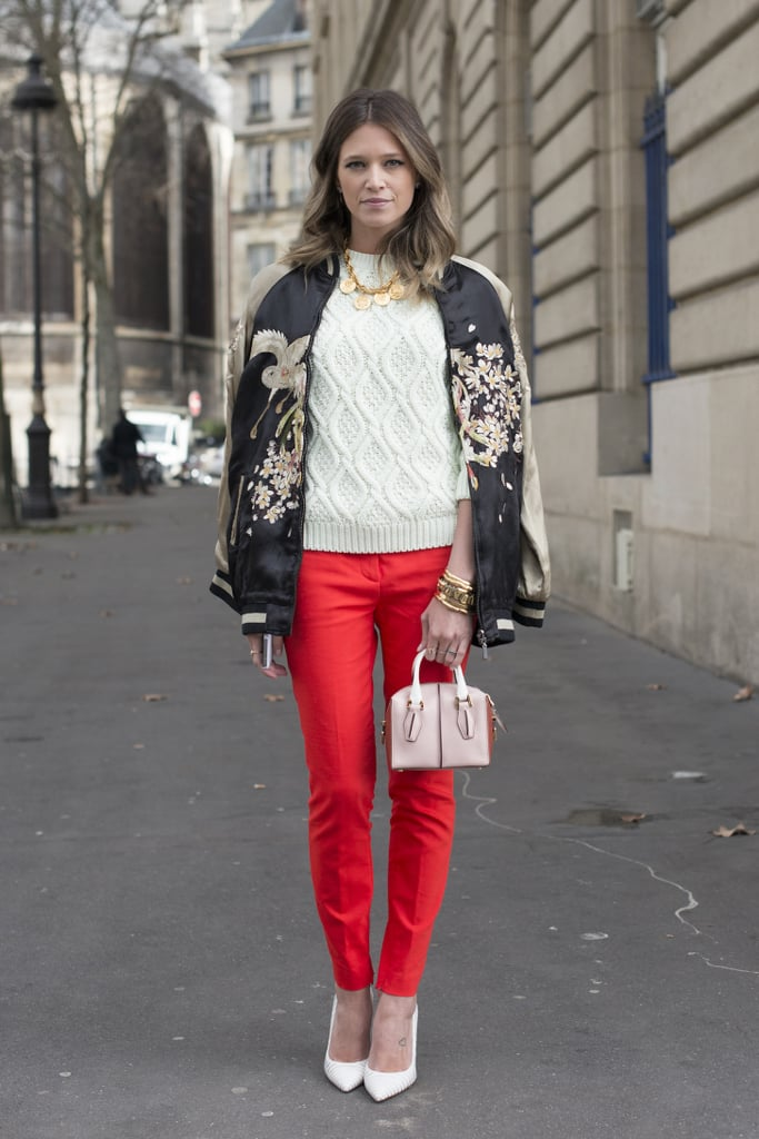 Red pants that are slimming and festive