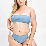 ZAFUL Color Block Bandeau Plus Size Bikini Set in Blue Koi