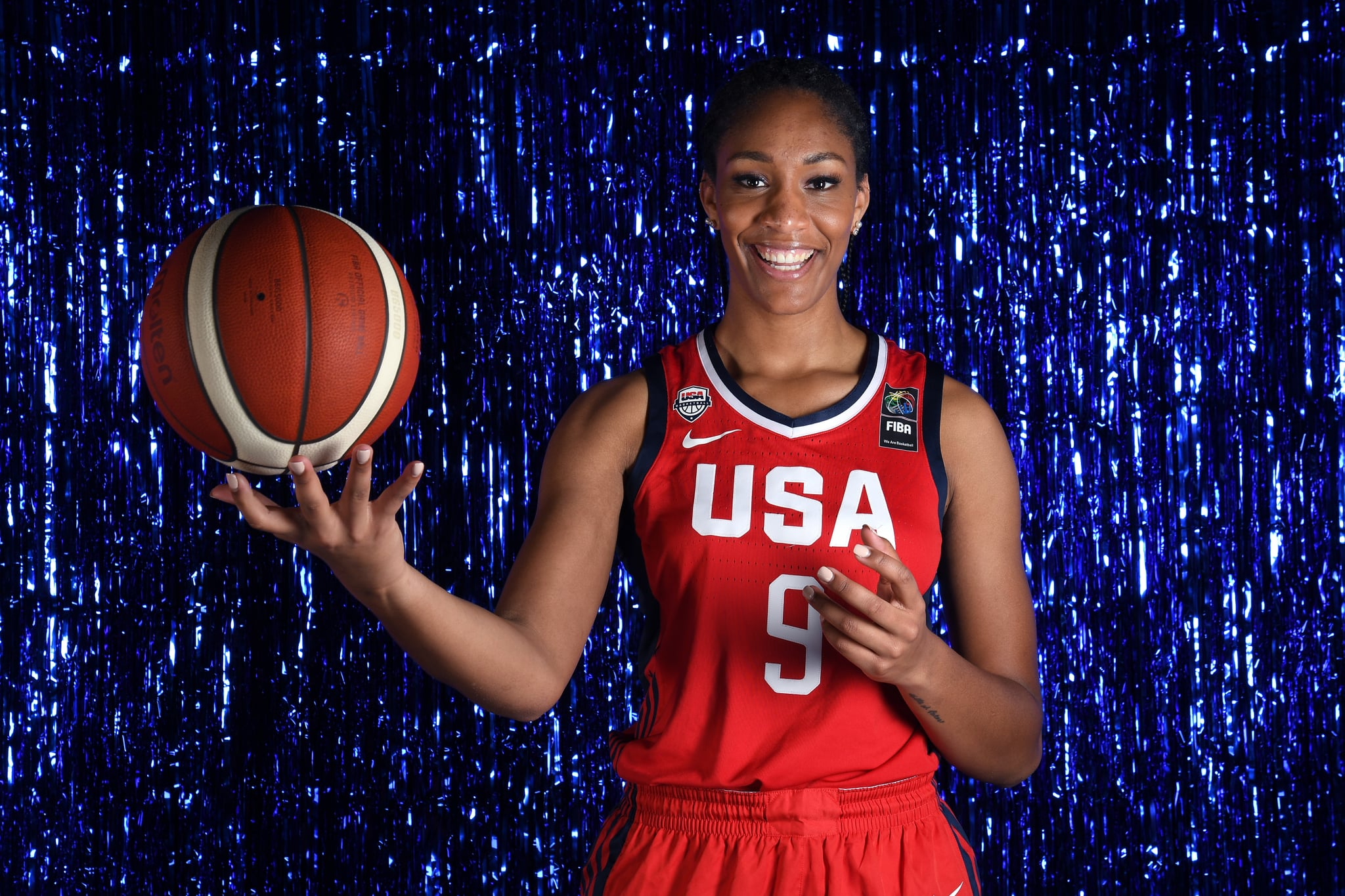 WEST HOLLYWOOD, CALIFORNIA - NOVEMBER 20: Basketball player A'Ja Wilson poses for a portrait during the Team USA Tokyo 2020 Olympics shoot on November 20, 2019 in West Hollywood, California. (Photo by Harry How/Getty Images)