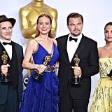 Leo Posed With the Rest of the Night's Big Winners — Mark Rylance, Brie Larson, and Alicia Vikander