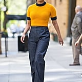 Don't Forget About the Short-Sleeved Sweater — a Fuzzy, Cropped Version Looks Cool With a Wide Leg