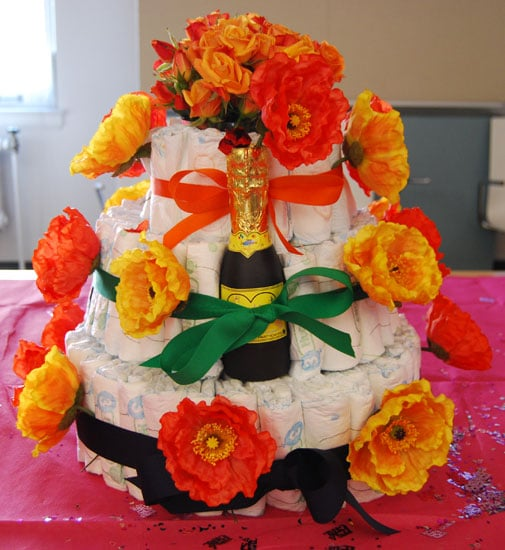 The Floral Themed Diaper Cake