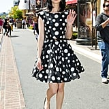 Krysten Ritter looked as retro cool as ever in a full-skirted polka-dot frock by Alice + Olivia. We love how she dressed it down with black flats and oversized sunglasses.