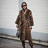 Style Your Leopard-Print Coat With: Brown Pants and Animal-Print Accessories