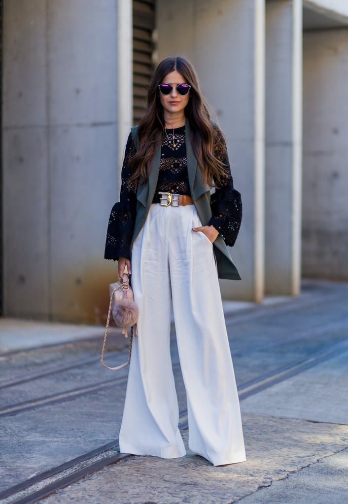 The Double-Buckle Belt Makes a Statement Over Wide-Leg Trousers