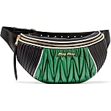 Miu Miu Color-Block Quilted and Matelassé Leather Belt Bag