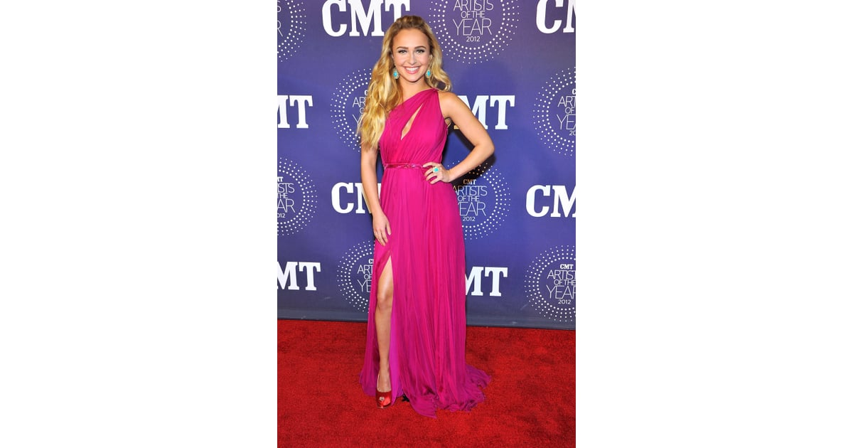 Hayden Panettiere Wore A Single-Shouldered Gown To The Celebration  Carrie Underwood -8535
