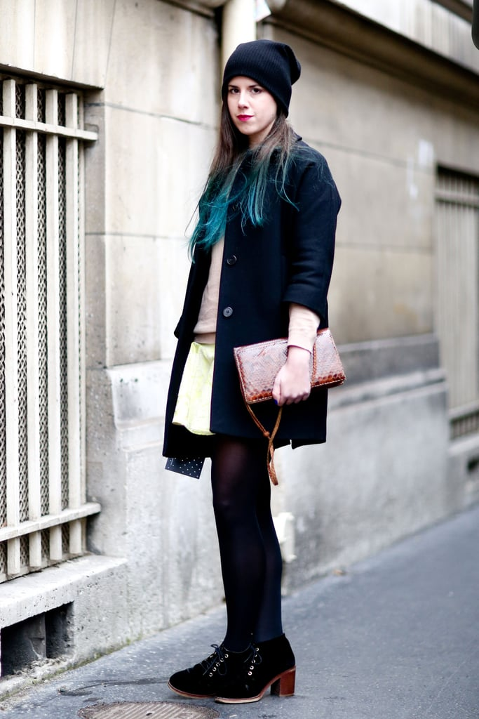 Ombré hair almost upstaged this mix of girlie wares and Winter staples.
