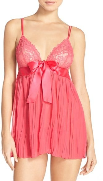 Be Wicked Pleat Babydoll Chemise & Thong ($38)
