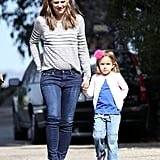 Seraphina wore a pink puff on her head for a day out with Jennifer Garner.