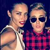 """I think she foreign, I think she foreign,"" Justin Bieber captioned this photo of himself and Adriana Lima. Source: Instagram user justinbieber"