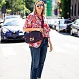 Style a Red Printed Shirt with a Denim Bag and Loafers