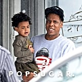 Jay Z held his daughter, Blue Ivy, while Beyoncé followed behind during their daughter's birthday celebration in Miami.