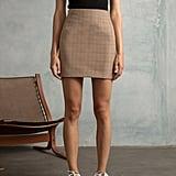 Pixie Market Brown Plaid Mini Skirt
