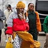 Winter Outfit Idea: A Puffer Worn Over a Flowy Dress
