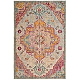 Muted blue-grays balance out tangerine and fuchsia tones in the oriental-inspired Safavieh Crystal Debra Floral Area Rug ($31-$535).