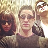 Lea Michele snapped a sunglasses selfie with her Glee costars Darren Criss and Chord Overstreet on set. Source: Instagram user msleamichele