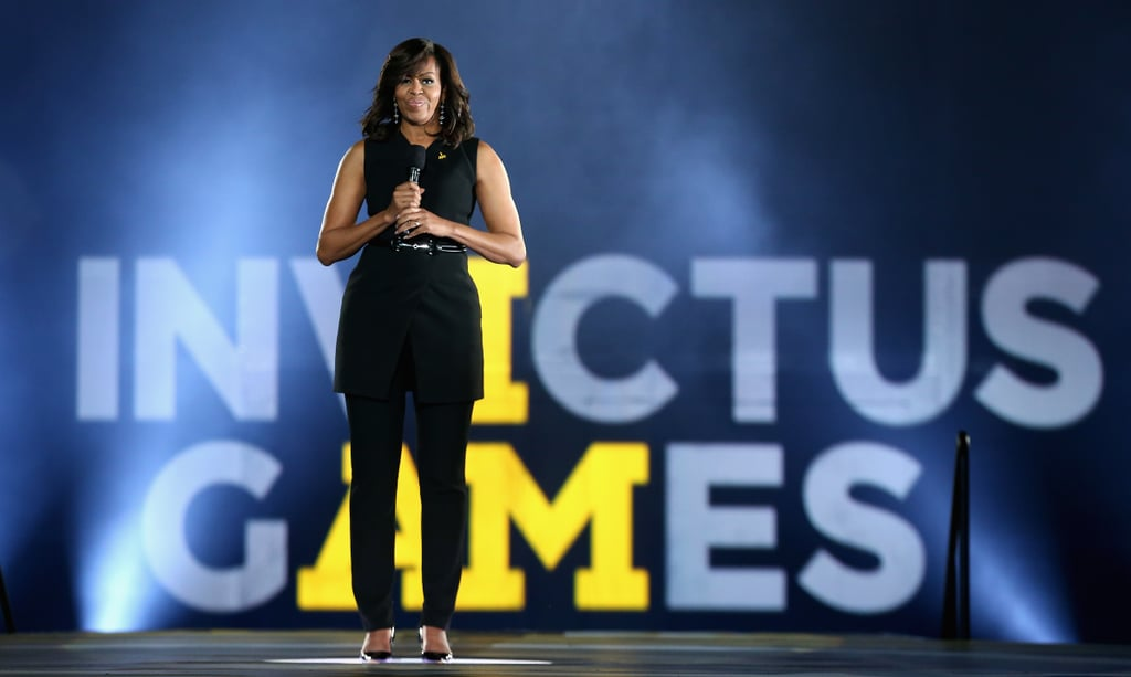 Michelle Obama Black Suit at Invictus Games 2016