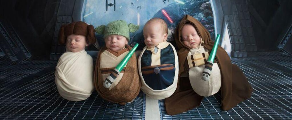 Quadruplets Couldn't Decide Between the Dark or Light Sides in Their Star Wars Newborn Shoot