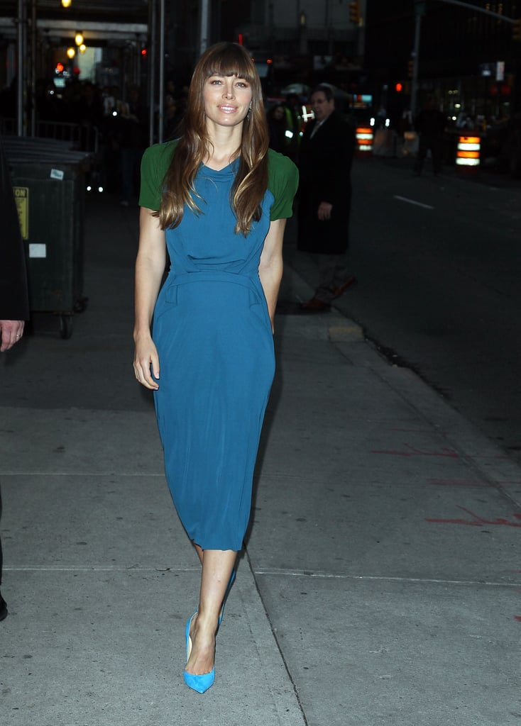 Jessica Biel stepped out in NYC to appear on the Late Show.