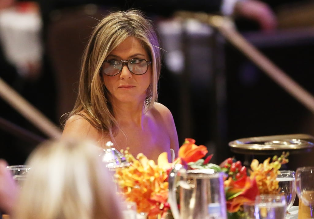 Jennifer Aniston wore glasses at the American Cinematheque Awards in LA.