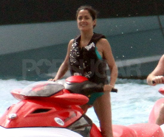 Salma Hayek Brings Out a New Bikini to Jet Ski With Her Husband in St. Barts