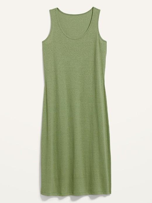 Old Navy Sleeveless Rib-Knit Linen-Blend Midi Shift Dress