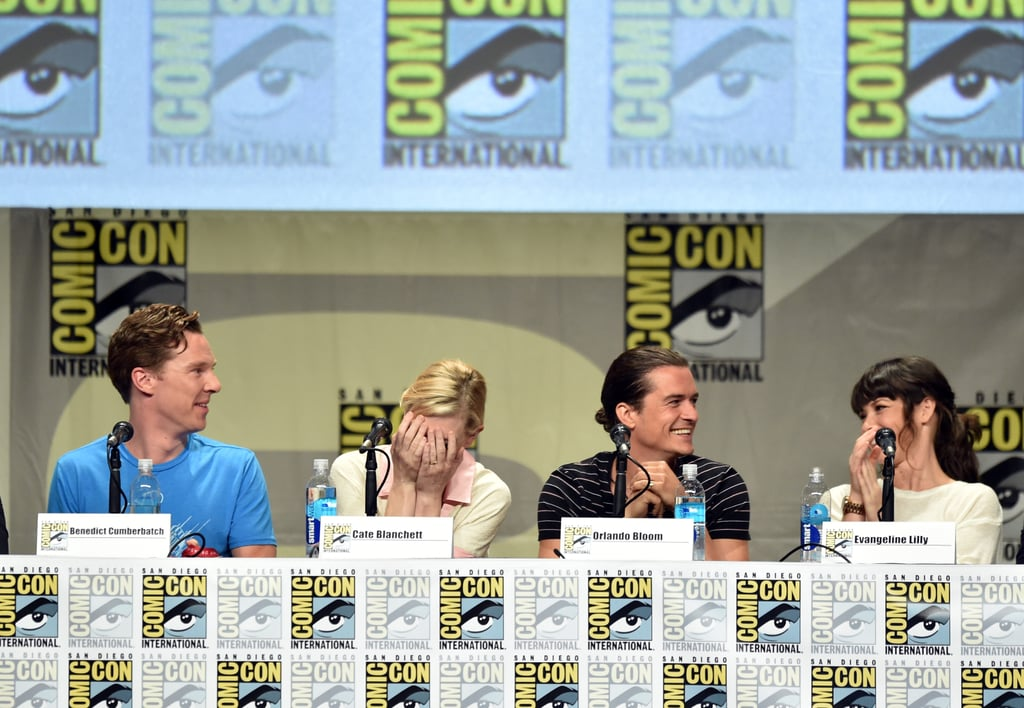 Facepalm! Cate Blanchett was laughing during The Hobbit: The Battle of the Five Armies panel with costars Benedict Cumberbatch, Orlando Bloom, and Evangeline Lilly on Saturday.