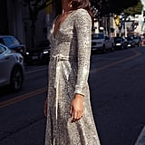 Dress the Population Daphne Long-Sleeved Sequin Cocktail Dress