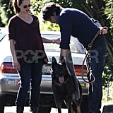 Ben Affleck hooked his dog's leash to his pants.