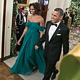 Wearing Marchesa to host the Kennedy Center honorees with President Obama in December 2013.