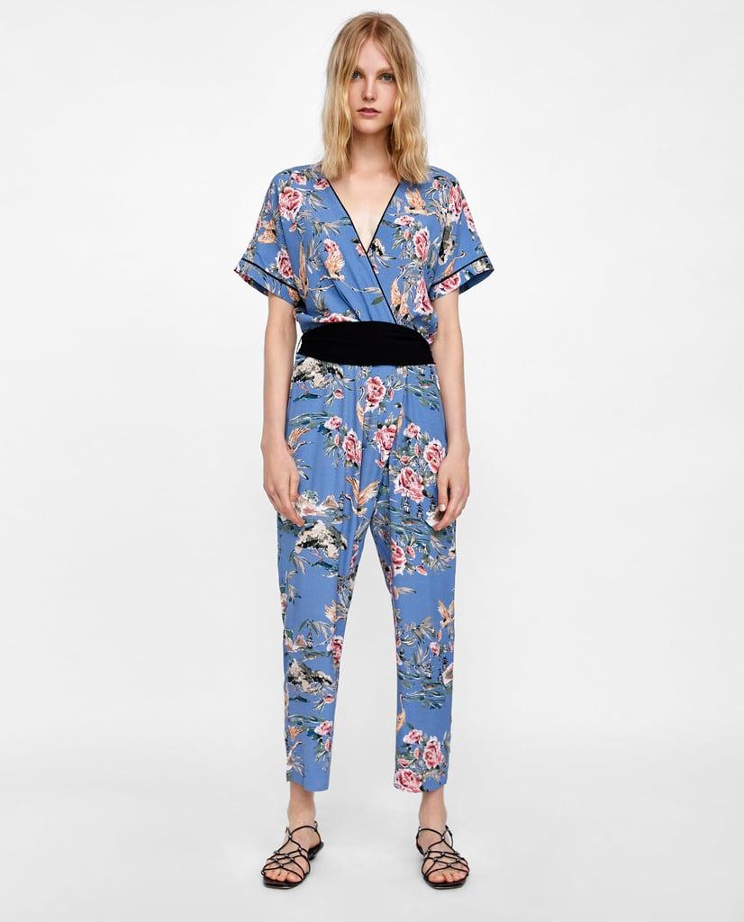 c13a4cbbbd67c Zara Print Jumpsuit With Ties | Zara Sale Summer 2018 | POPSUGAR ...