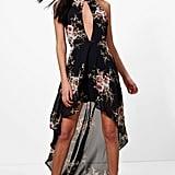 Boohoo Paula Dark Floral Chiffon Halter Maxi Dress