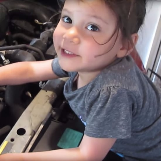 Little Girl Does an Oil Change