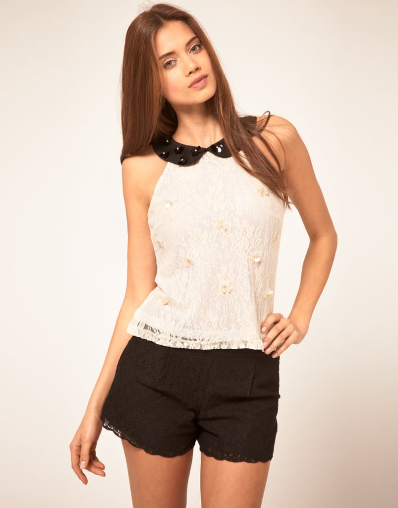 Lipsy Embellished Top With Peter Pan Collar ($73)