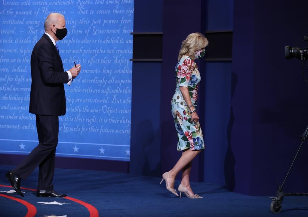 Jill Biden's Floral Face Mask and Dress at the Final Debate