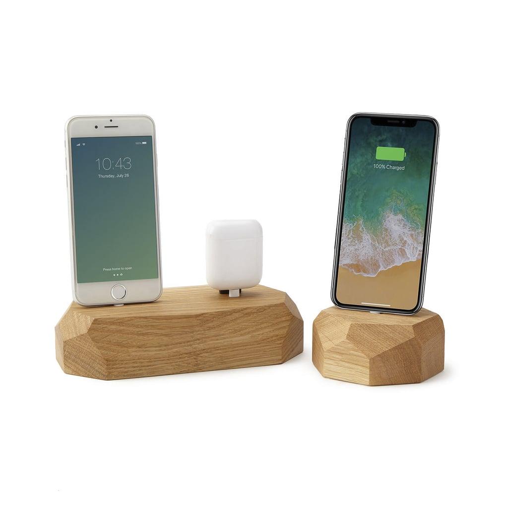 Freestanding Oak Phone Dock