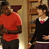 New Girl Winston (Lamorne Morris) and Jess (Zooey Deschanel) on New Girl's Halloween episode.