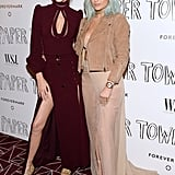 Kendall in a Zimmermann dress and Kylie in a Topshop jacket and Vionnet sheer skirt.