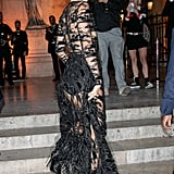 Kendall Modeling a Sheer Dress in Paris