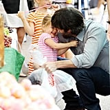 Ben Affleck takes Violet and Seraphina to the Farmers Market.