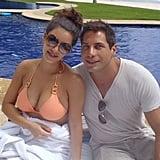 Kim posed poolside with Joe.  Source: Casa Aramara