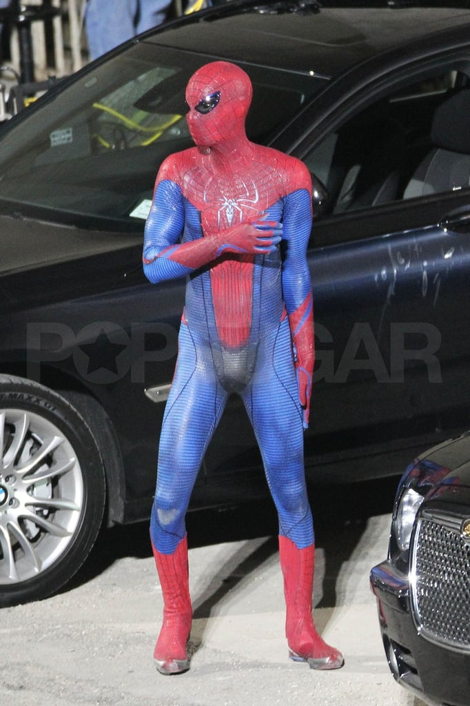 Andrew Garfield left little to the imagination last night on the LA set of Spider-Man. He did a series of flips and stunts around a car, the whole time showing off his assets in his tight blue and red costume. It's his latest appearance in the Spidey suit since we got a first look at him in the getup earlier this month. Andrew is taking over the action-hero reigns from Tobey Maguire, and you guys seem split as to who makes a sexier leading man. Tobey, however, has thrown his full support behind Andrew and even offered his blessing to the reboot of his famous franchise. Andrew was back to work on the blockbuster after having a few recent nights off to make the award season rounds on behalf of The Social Network. He stepped out to attend the SAG Awards as well as the Directors Guild of America's ceremony last weekend alone, and he'll throw on a tux again later this month for the Oscars.