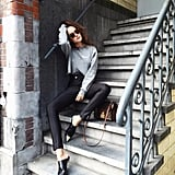 A Gray Crewneck, Black High-Waisted Pants, and Black Slip-On Shoes