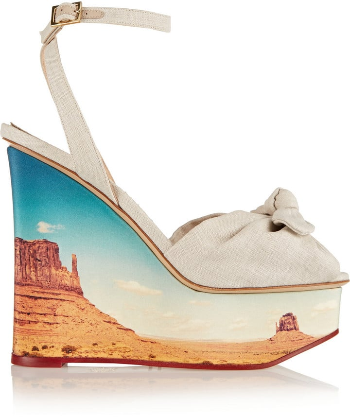 d057a4bb5 Charlotte Olympia Panoramic Miranda Canvas Wedge Sandals