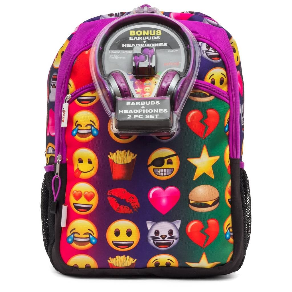 f79e11dd74 Emoji Backpack with Headphones and Earbuds