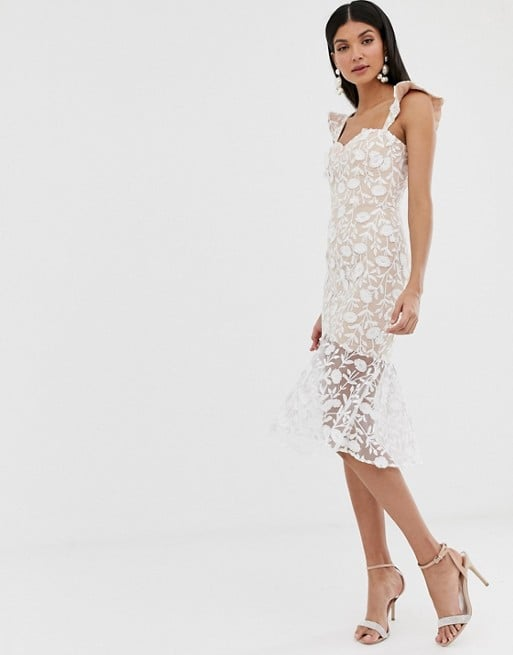 Jarlo Tall Lace Embroidered Midi Dress