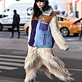 Winter Outfit Idea: A Furry Fleece and Textured Skirt
