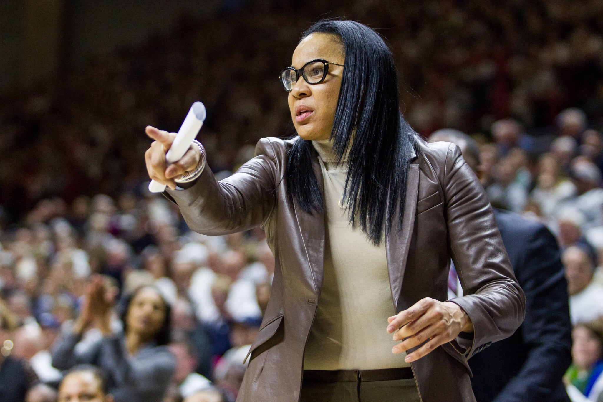 STORRS, CT - FEBRUARY 13: South Caroloina's Head Coach Dawn Staley on the side lines during the first half of a women's division 1 basketball game between 6th ranked University of South Carolina and the #1 UConn Huskies on February 13, 2017, at the Harry A. Gampel Pavilion in Storrs, CT. (Photo by David Hahn/Icon Sportswire via Getty Images)