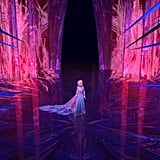 Elsa's ice palace changes color to reflect her feelings.